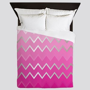 Metal Pink Chevron Queen Duvet