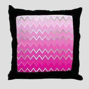 Metal Pink Chevron Throw Pillow