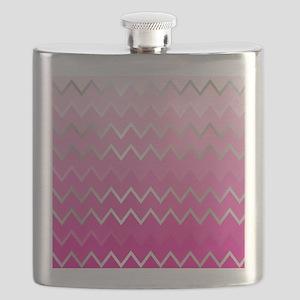Metal Pink Chevron Flask