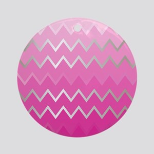 Metal Pink Chevron Round Ornament