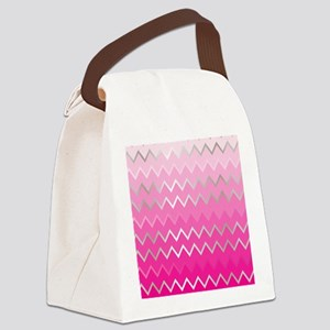 Metal Pink Chevron Canvas Lunch Bag