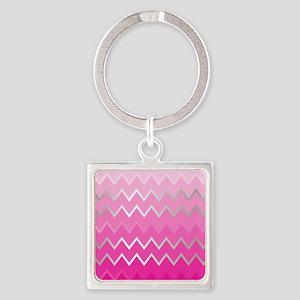 Metal Pink Chevron Square Keychain