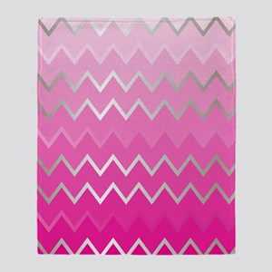 Metal Pink Chevron Throw Blanket
