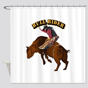 Cowboy - Bull Rider with Text Shower Curtain