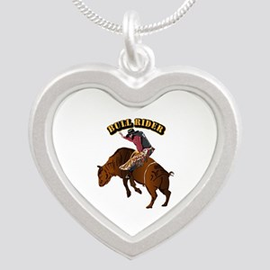 Cowboy - Bull Rider with Tex Silver Heart Necklace