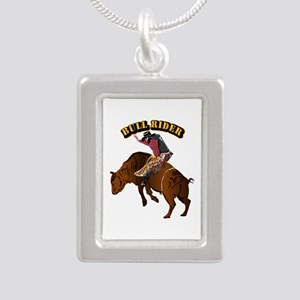 Cowboy - Bull Rider with Silver Portrait Necklace