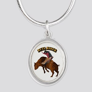 Cowboy - Bull Rider with Text Silver Oval Necklace