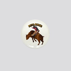 Cowboy - Bull Rider with Text Mini Button