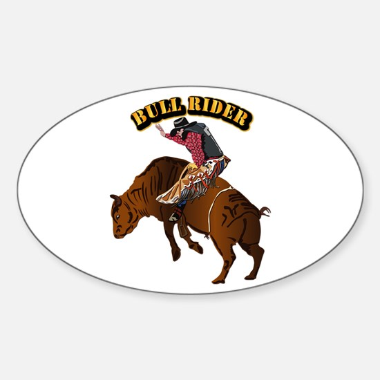 Cowboy - Bull Rider with Text Sticker (Oval)