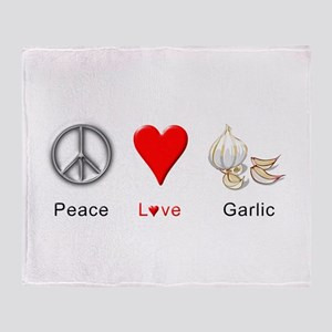 Peace Love Garlic Throw Blanket