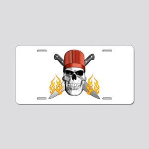 Flaming Chef Skull Aluminum License Plate
