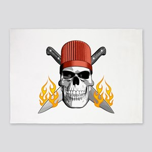 Flaming Chef Skull 5'x7'Area Rug