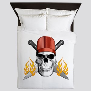 Flaming Chef Skull Queen Duvet