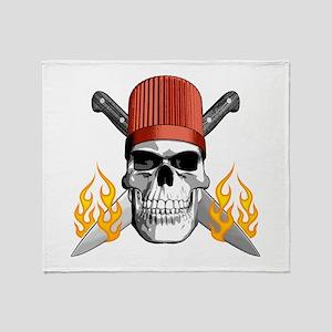 Flaming Chef Skull Throw Blanket