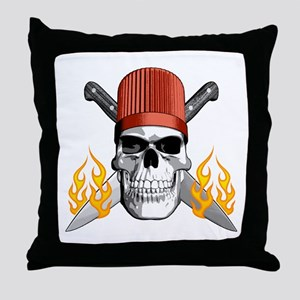 Flaming Chef Skull Throw Pillow
