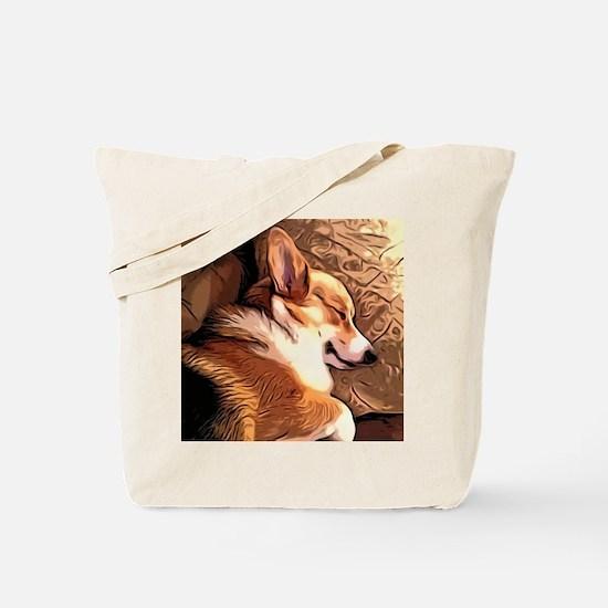 Sleepy Tricolor Corgi Tote Bag