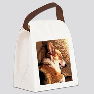Sleepy Tricolor Corgi Canvas Lunch Bag