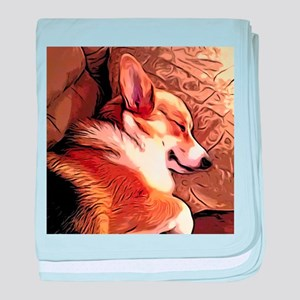 Sleepy Tricolor Corgi baby blanket