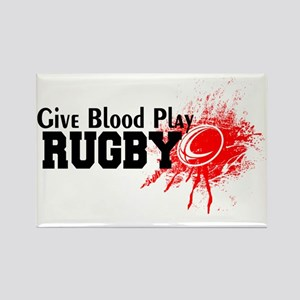 Give Blood Play Rugby Rectangle Magnet