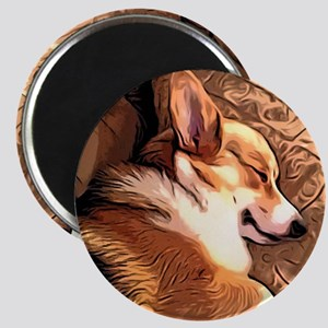 Sleepy Tricolor Corgi Magnets