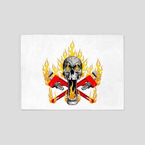 Flaming Plumber Skull 5'x7'Area Rug