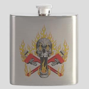 Flaming Plumber Skull Flask