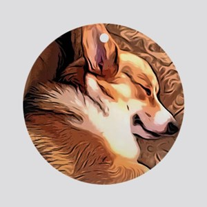 Sleepy Tricolor Corgi Ornament (Round)