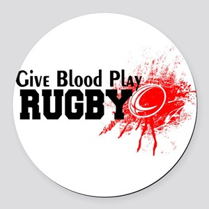 Give Blood Play Rugby Round Car Magnet