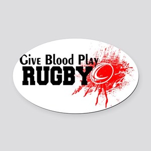 Give Blood Play Rugby Oval Car Magnet