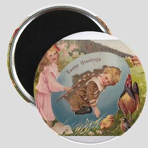Vintage Easter Victorian Girl & Boy Magnets
