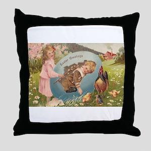 Vintage Easter Victorian Girl & Boy Throw Pillow