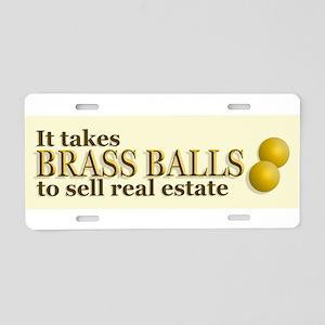 Brass Balls Aluminum License Plate