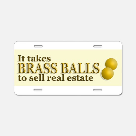 Brass Balls Aluminum License Plate