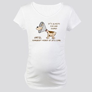 dog cone larry font 2 Maternity T-Shirt