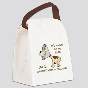 dog cone larry font 2 Canvas Lunch Bag