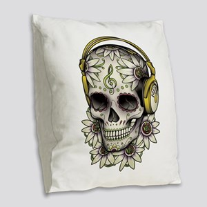 Sugar Skull 008 Burlap Throw Pillow
