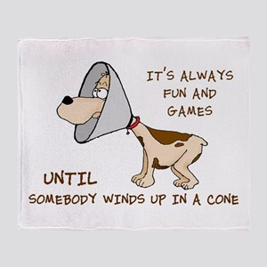 dog cone larry font 2 Throw Blanket