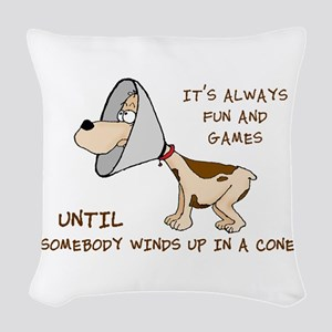 dog cone larry font 2 Woven Throw Pillow