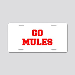 MULES-Fre red Aluminum License Plate