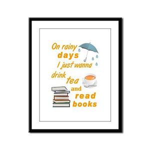 Rainy Days Tea Books Framed Panel Print