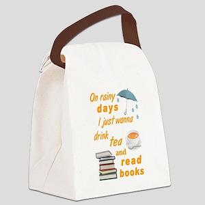 Rainy Days Tea Books Canvas Lunch Bag