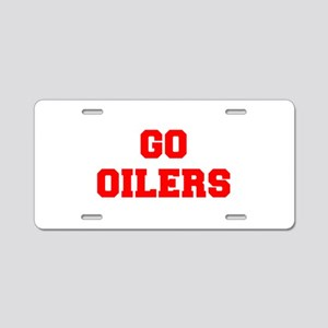 OILERS-Fre red Aluminum License Plate