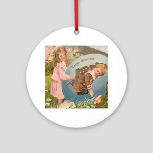 Vintage Easter Victorian Girl & Boy Ornament (Roun