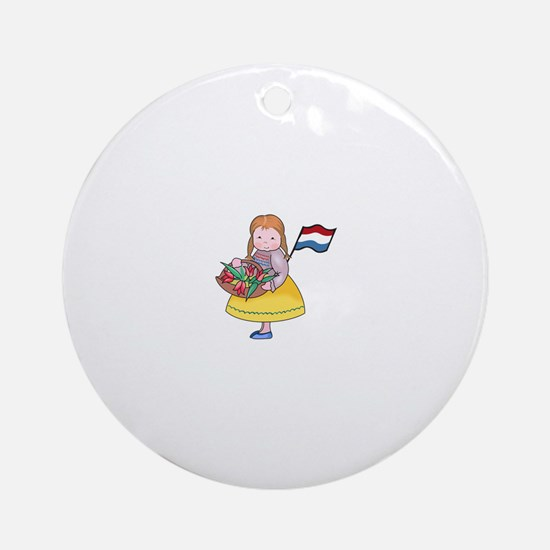 DUTCH GIRL WITH TULIPS AND FLAG Ornament (Round)