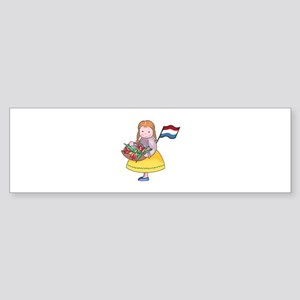DUTCH GIRL WITH TULIPS AND FLAG Bumper Sticker