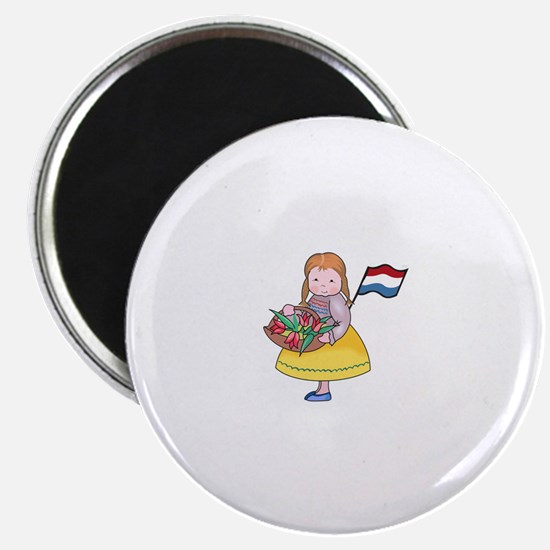 DUTCH GIRL WITH TULIPS AND FLAG Magnets
