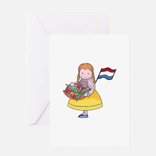DUTCH GIRL WITH TULIPS AND FLAG Greeting Cards
