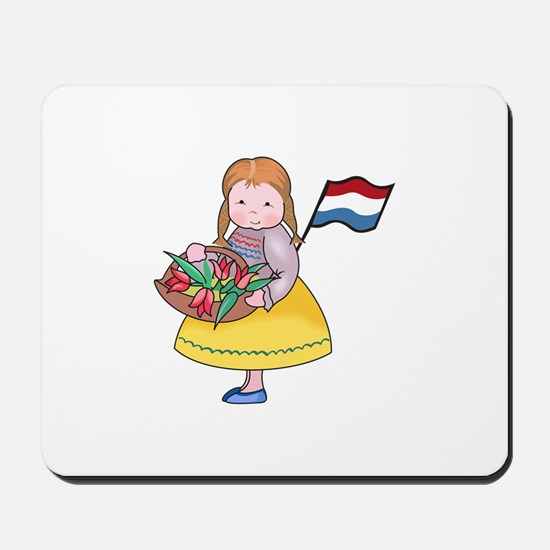 DUTCH GIRL WITH TULIPS AND FLAG Mousepad