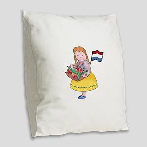 DUTCH GIRL WITH TULIPS AND FLAG Burlap Throw Pillo