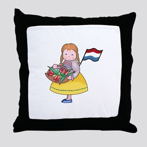 DUTCH GIRL WITH TULIPS AND FLAG Throw Pillow